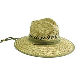 Men's San Diego Hat Company Rush Straw Outback Hat RSM540 Natural/Olive