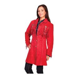 Women's Scully Leather 3/4 Length Boar Suede Coat L615 Red Boar Suede