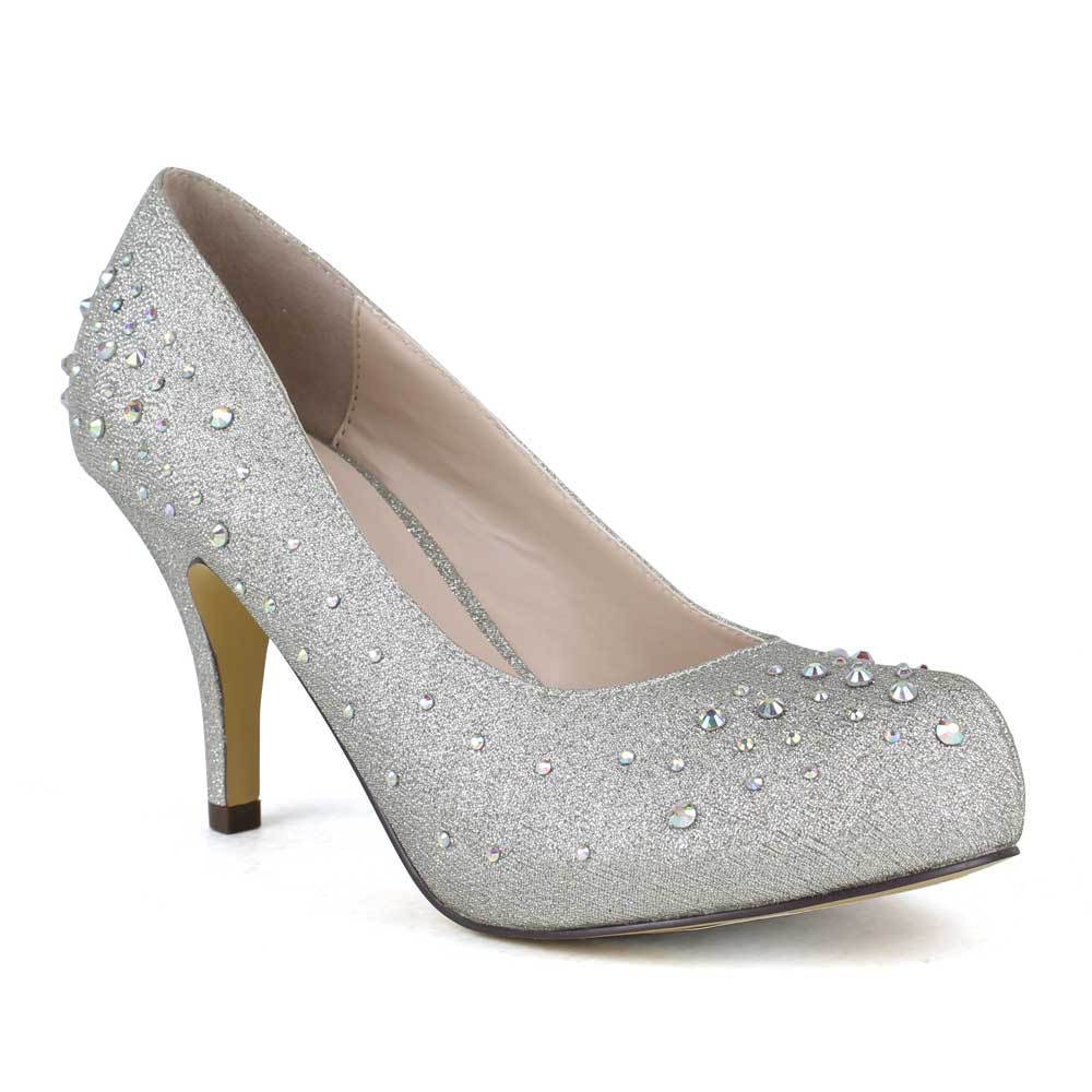 Cheap Silver Sparkly Heels