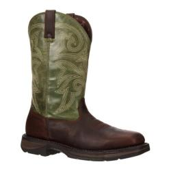 Men's Durango Boot DWDB038 12in Western Waterproof Workin' Rebel Steel Dark Brown/Emerald Leather