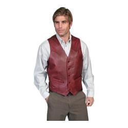 Men's Scully Leather Lambskin Button Front Vest 503 Long Black Cherry