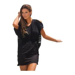 Women's Lavish Tunic w/Slit Sleeves - Burnout Black Stripe