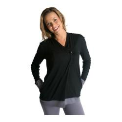 Women's Be Up Cozy Button Pullover Black/Grey
