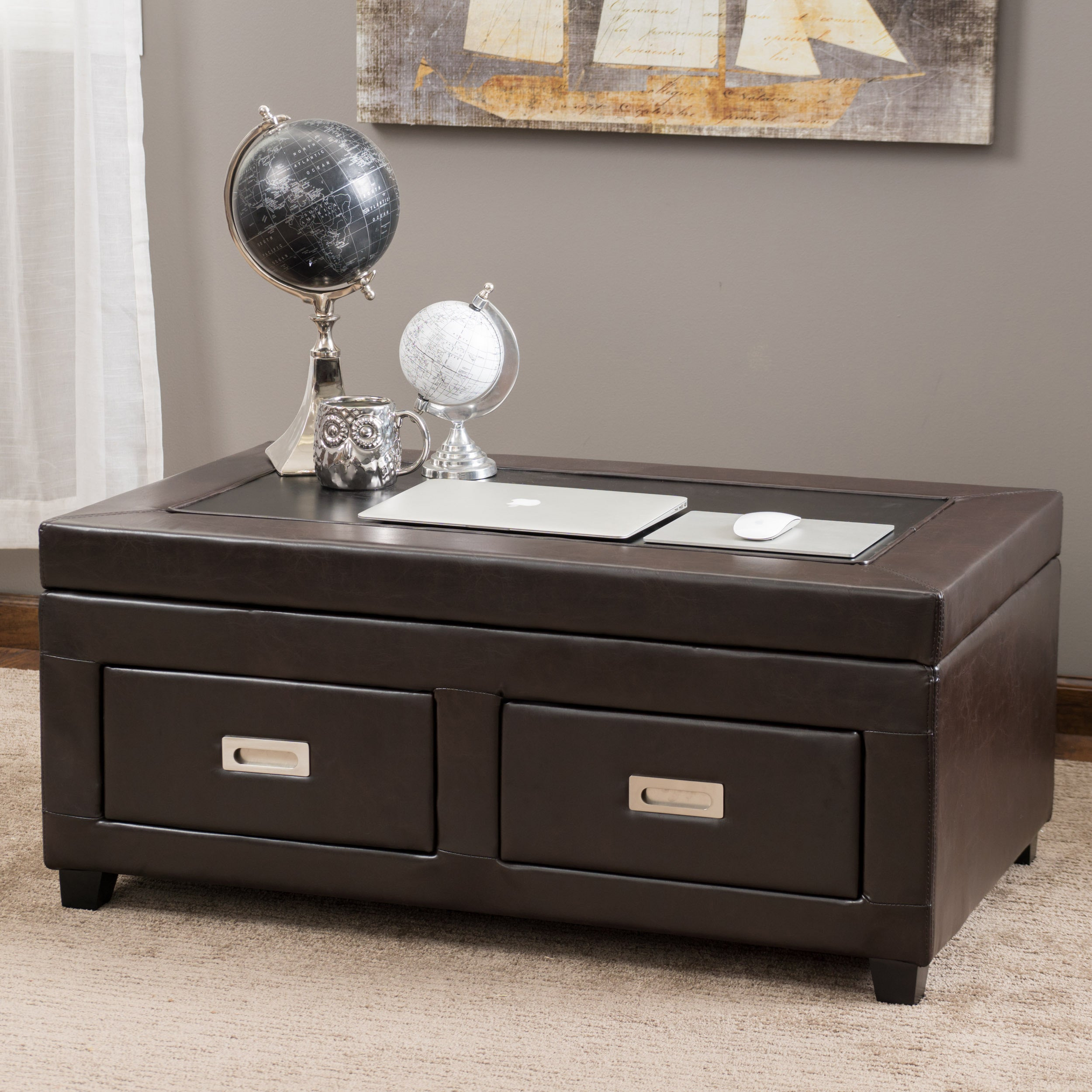 Christopher Knight Home Stafford Adjustable Bonded Leather Table