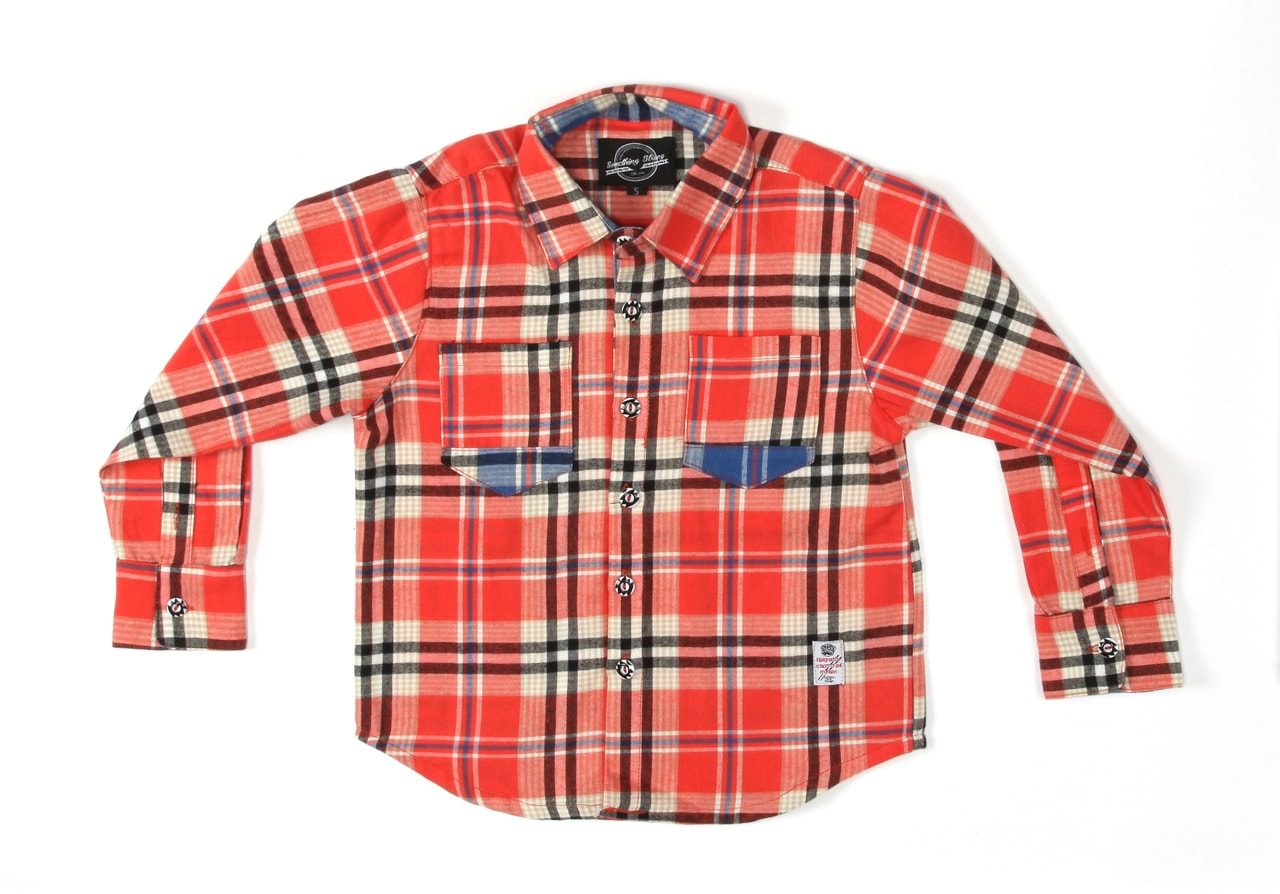 Something Strong Boys Long Sleeve Flannel Shirt in Salmon