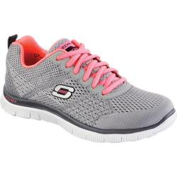 Women's Skechers Flex Appeal Obvious Choice Light Gray/Coral