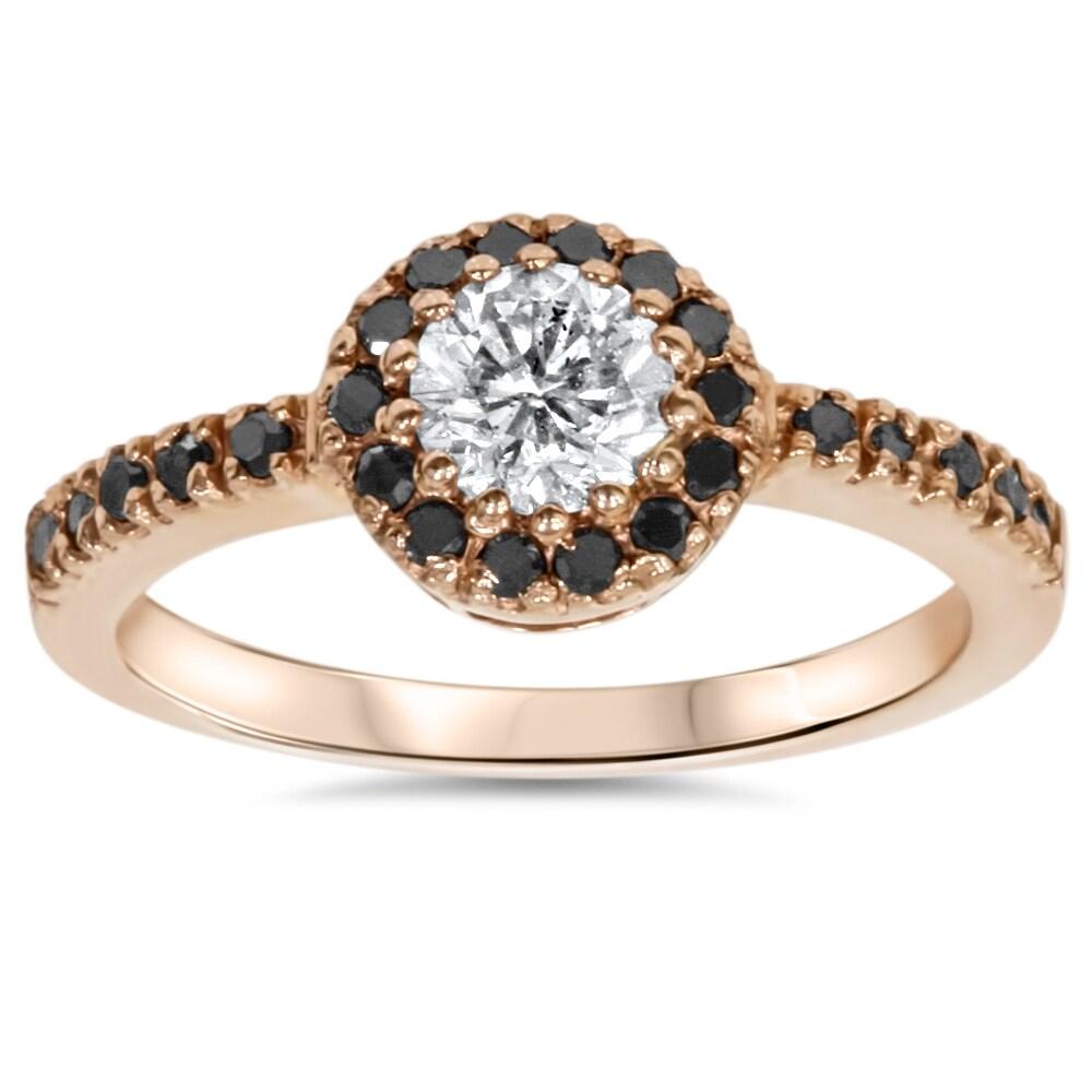 Bliss 14k Rose Gold 3/4ct TDW White and Black Diamond Halo Ring (J-K, I2-I3)