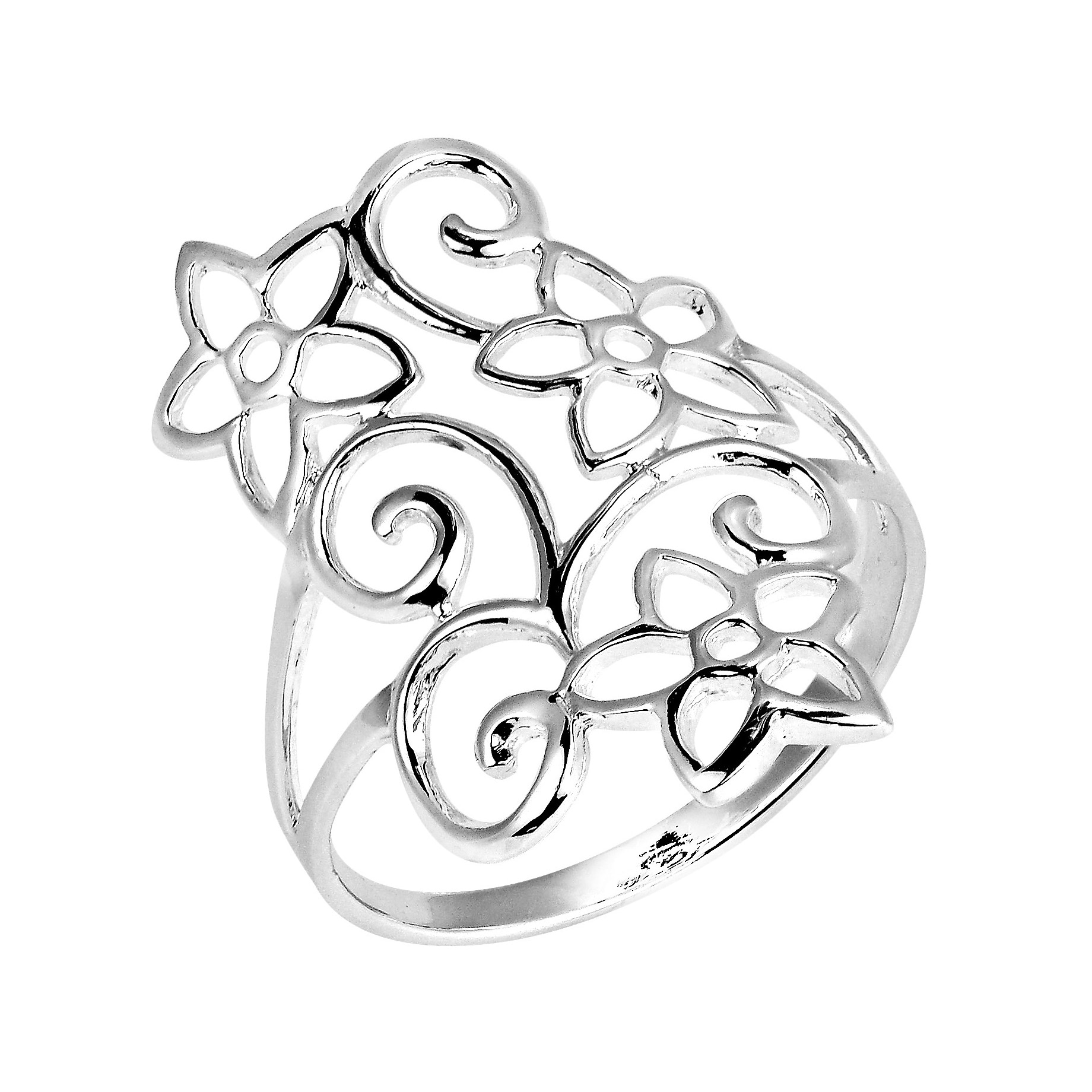 Swirling Jasmine Flower Garden .925 Sterling Silver Ring (Thailand)