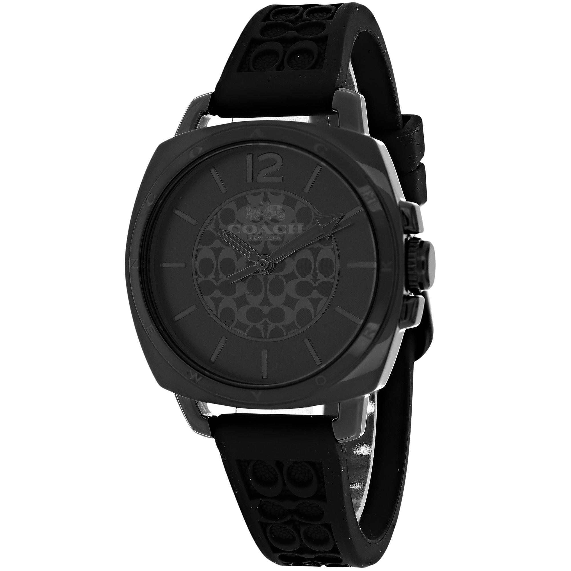 Coach Women's 14502096 Boyfriend Round Black Rubber Strap Watch