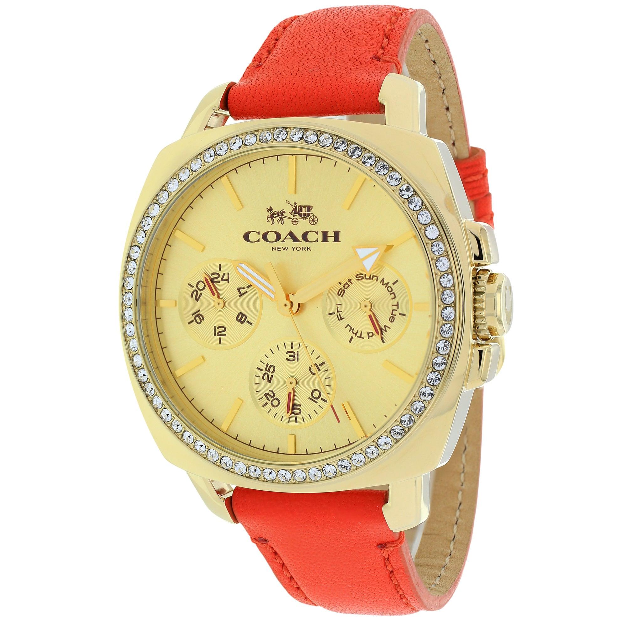 Coach Women's 14502089 Boyfriend Round Orange Leather Strap Watch