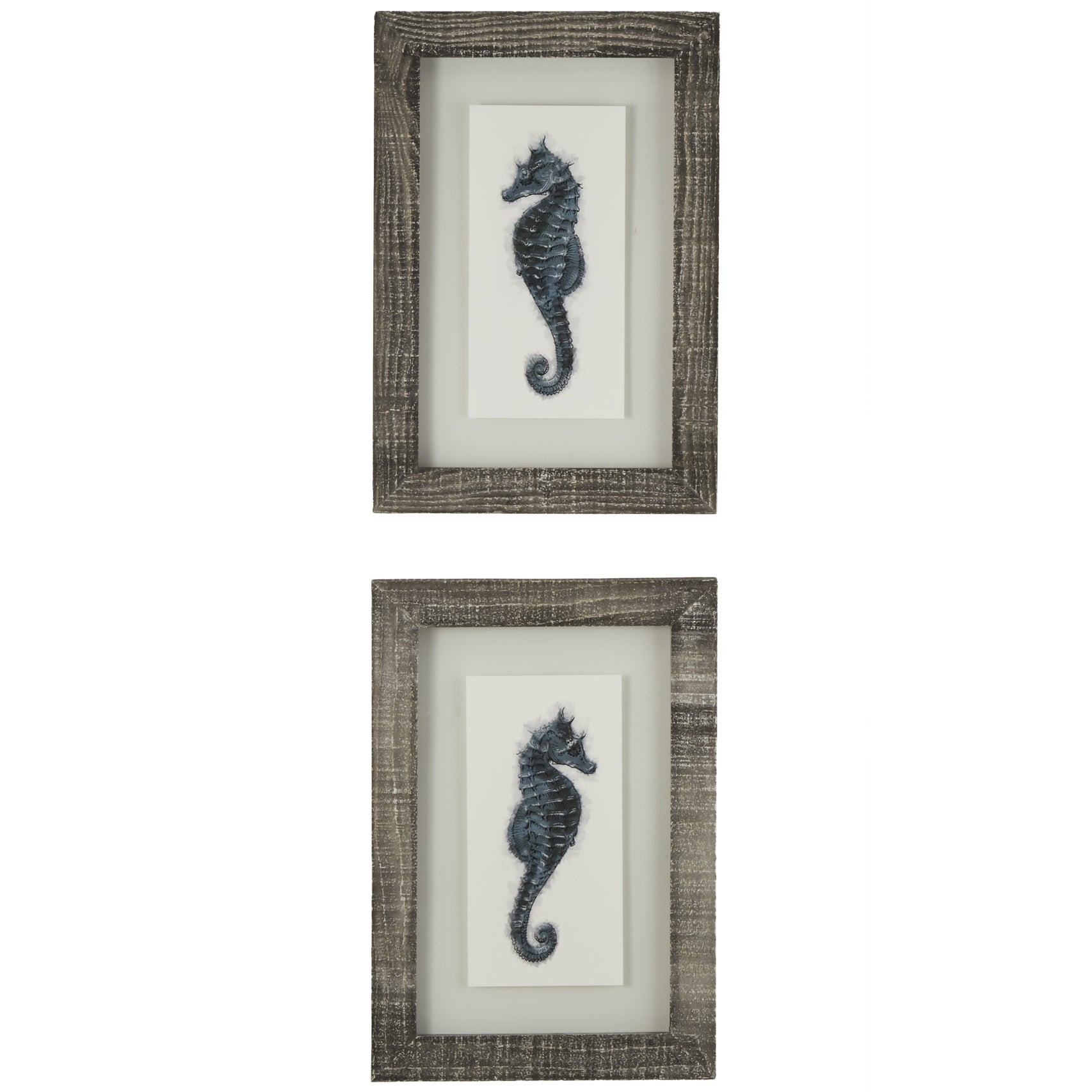 Sea Horses Framed Giclee Print Wall Art with Glass (Set of 2)
