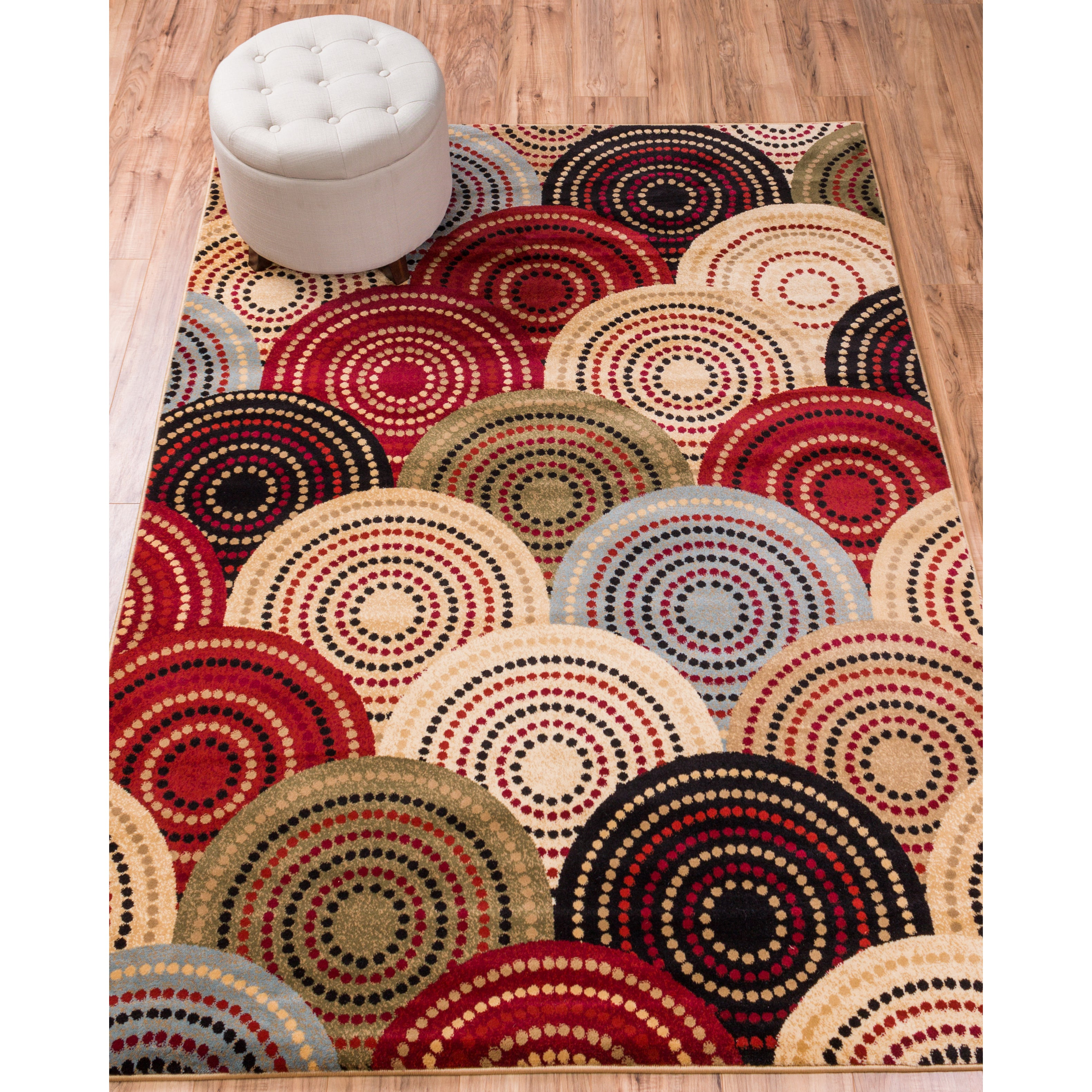Well Woven Sublime Lines Spheres Dots Multi Polypropylene Rug (7'10 x 10'6 )
