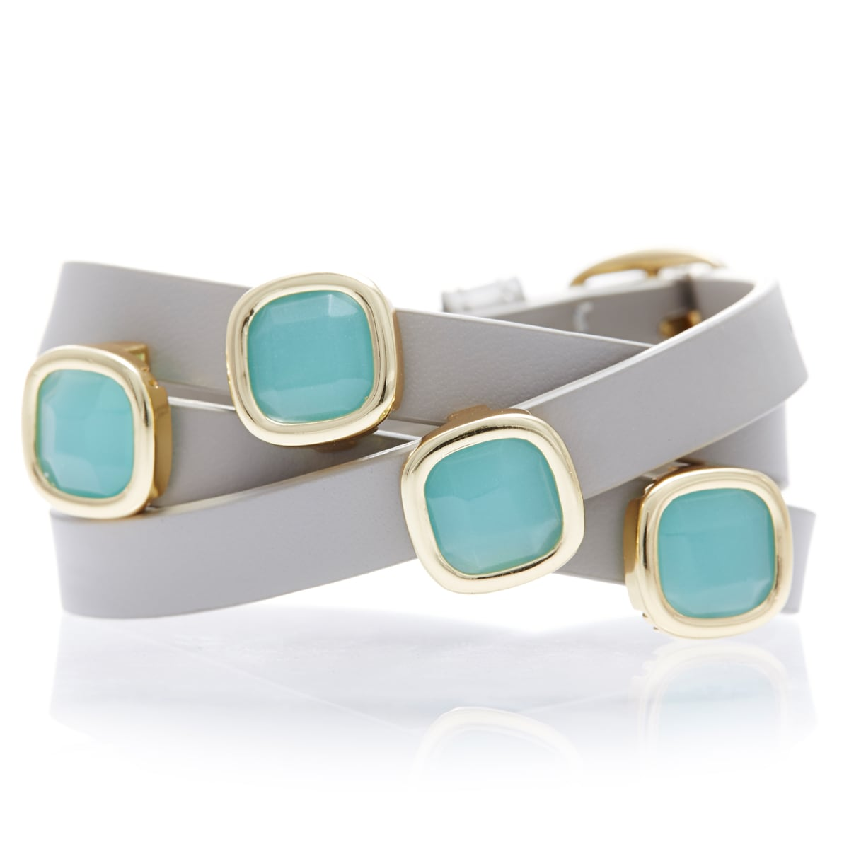 18k Goldplated Peru Chalcedony Gemstone Leather Wrap Bracelet