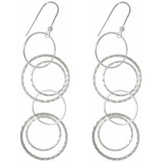 CGC Sterling Silver High Polish Multi-hoop Long Dangle Earrings