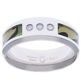 Stainless Steel Men's 1/10ct TDW Green Camo Diamond Band (H-I, I2-I3)