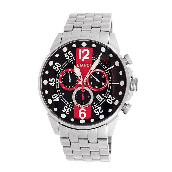 Roberto Bianci Men's Pro Racing Black/ Red Face Chronograph Watch