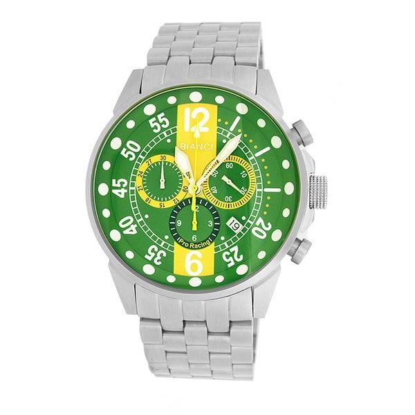 Roberto Bianci Men's Pro Racing Green/ Yellow Face Chronograph Watch