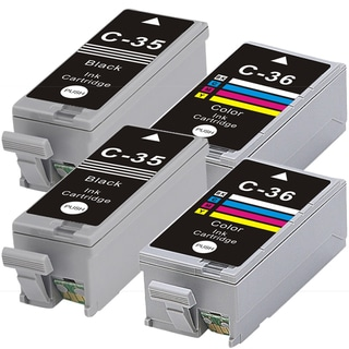 Canon PGI35 + CLI36 (Black+Color) Compatible Inkjet Cartridge (Remanufactured) (Pack of 4)