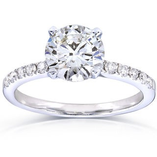 Annello 14k White Gold 1 4/5ct TDW Certified Round Diamond Solitiare Ring (G, SI1)