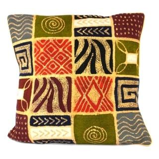 Handmade Geometric Patches Design Batik Cushion Cover (Zimbabwe)