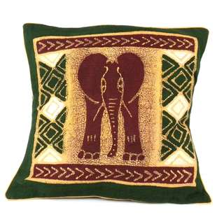 Handmade Green Elephant Batik Cushion Cover (Zimbabwe)