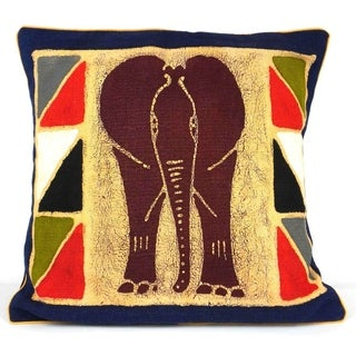 Handmade Elephant Batik Design Cushion Cover (Zimbabwe)