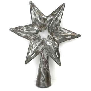 Handmade 8-inch Metal Art Star Tree Topper (Haiti)