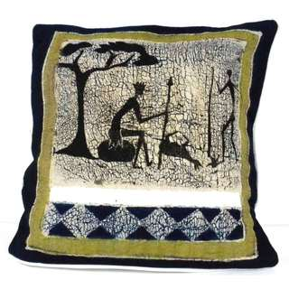 Handmade Batik Cushion Cover - Hunting (Zimbabwe)