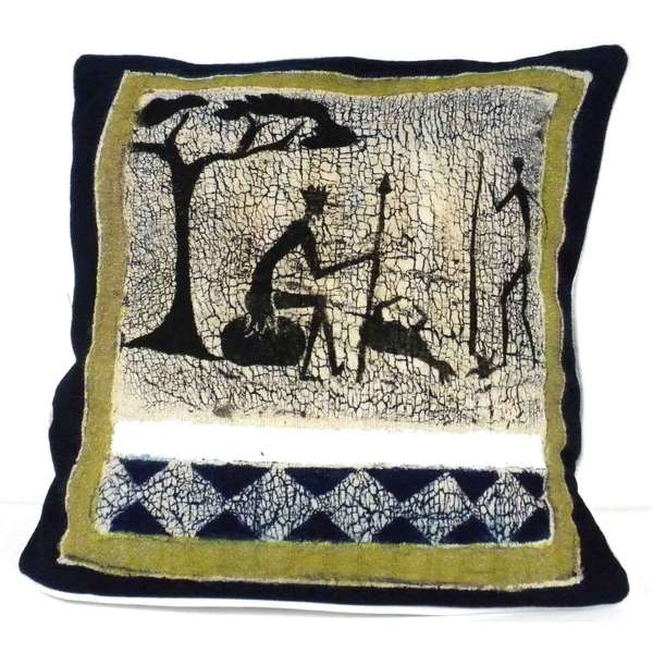 Handmade Hunting Scene Batik Cushion Cover (Zimbabwe)