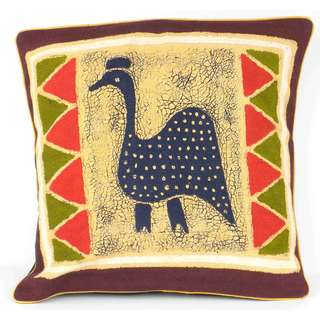 Handmade Guinea Fowl Batik Cushion Cover (Zimbabwe)