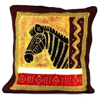 Handmade Zebra Design Batik Cushion Cover (Zimbabwe)