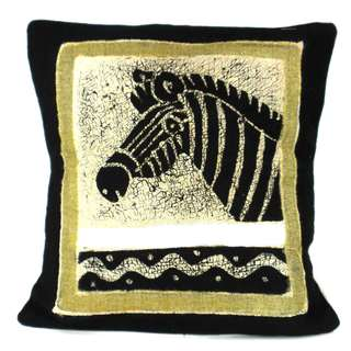 Handmade Batik Cushion Cover - Black and White Zebra (Zimbabwe)