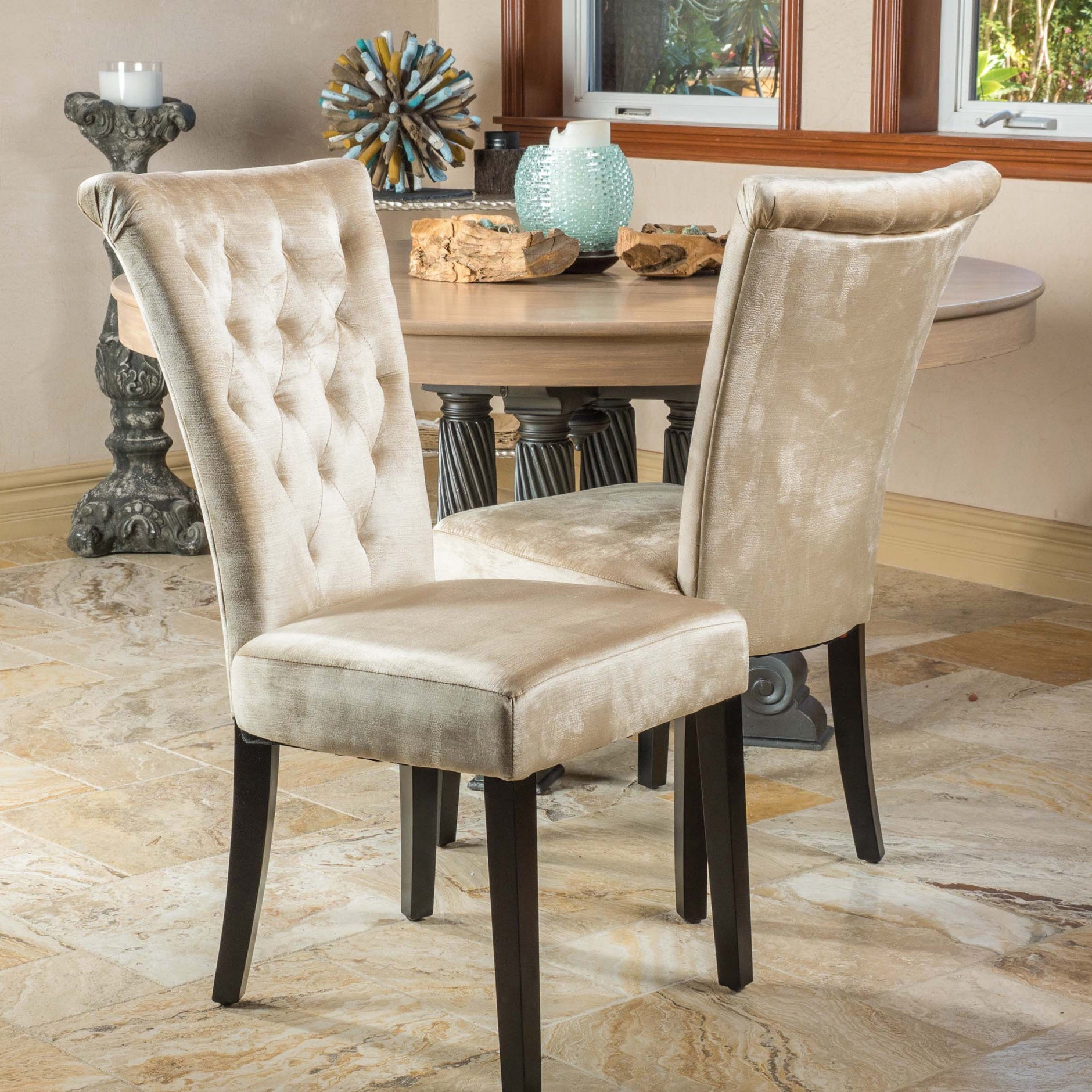 Venetian Tufted Dining Chairs Set of 2 by Christopher Knight