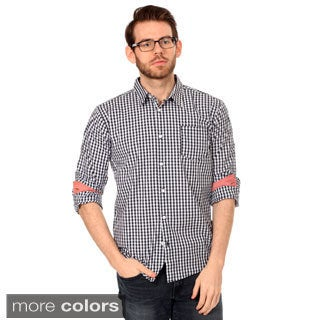Filthy Etiquette Men's Slim Fit Gingham Plaid and Chambray Shirt