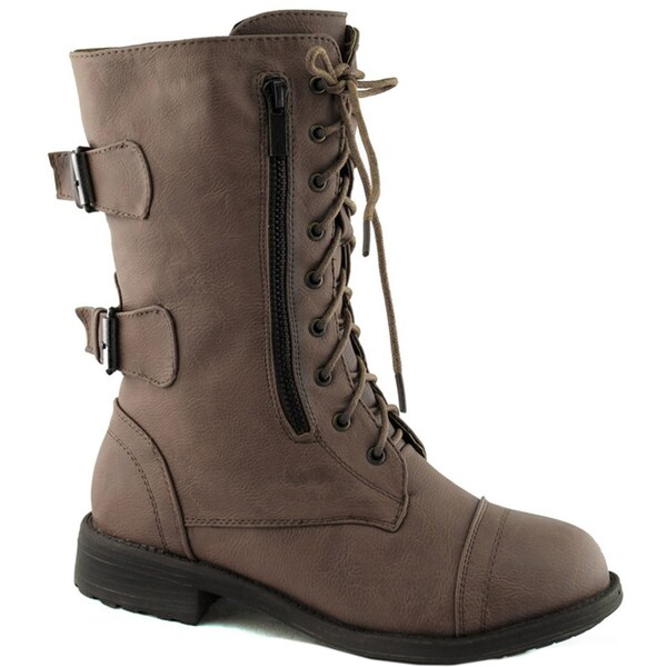 Top Moda Women's 'Pack-72' Mid-calf Military Lace-up Combat Boots