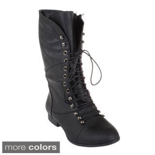 Top Moda Women's 'Coco-7' Mid-calf Military Combat Boots