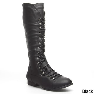 Top Mod Women's 'Coco-39' Knee-high Military Combat Boots