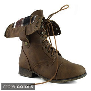 Top Moda Women's 'Smart-1' Mid-calf Fold-over Combat Boots