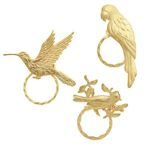 Detti Originals SPEC Cardinal/ Hummingbird and Parrot 3-piece Spectacle Brooch Set