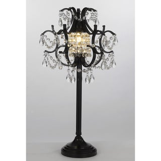 Gallery 1-light Black Wrought Iron/ Crystal Table Lamp