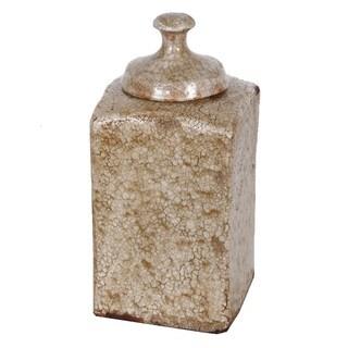 Antiqued Amber Lidded Ceramic Vase