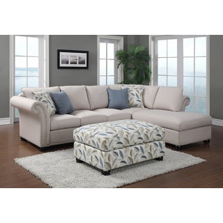 Paige 2-piece Beige Sectional and Ottoman