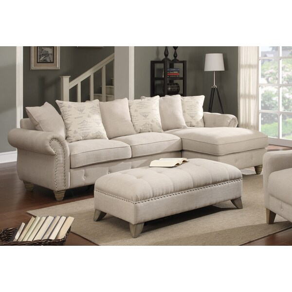 Georgina 2-piece Beige Sectional and Ottoman