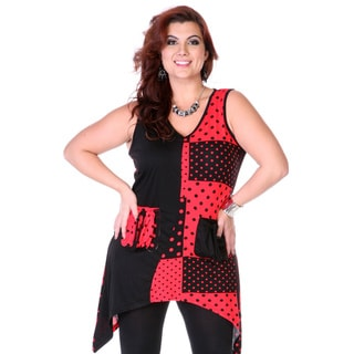Women's Black and Red Polka-dot Patch Spliced Top