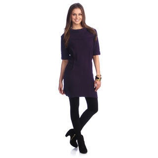Hadari Women's Fold-over Collar Sweater Dress