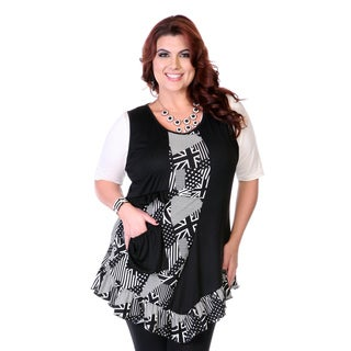 Women's Black and White Patchwork Print Top
