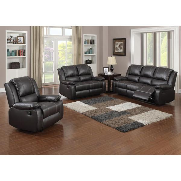 Gavin brown bonded leather 3 piece living room set for Living room 3 piece sets