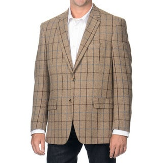 Henry Grethel Men's Brown Windowpane Camel Hair Blazer