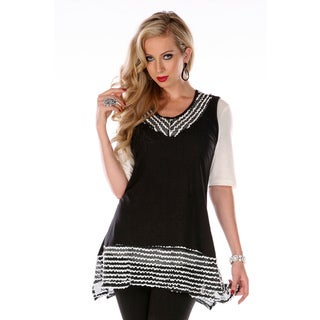 Women's Black and White Stripe Trim Spliced Tunic