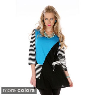 Women's Two-tone Mixed Print Spliced Tunic